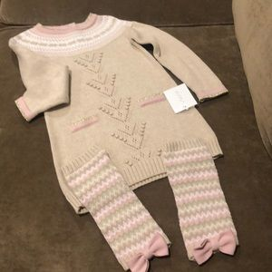 Knitted soft dress with leg warmers.